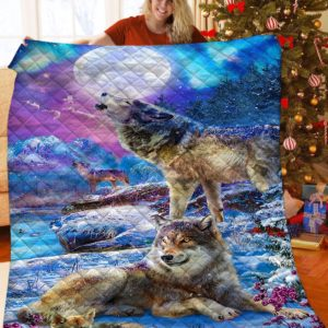 Wolf In The Winter Wolf And Moon Quilt Blanket Great Customized Blanket Gifts For Birthday Christmas Thanksgiving