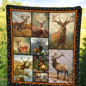 Deer Hunting Deer Square Art Quilt Blanket Great Customized Gifts For Birthday Christmas Thanksgiving Anniversary