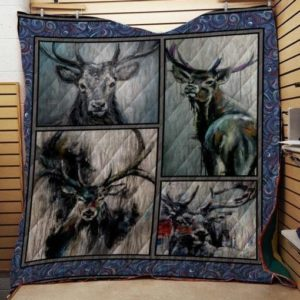 Deer Animal Deer Dark Painting Quilt Blanket Great Customized Gifts For Birthday Christmas Thanksgiving Anniversary