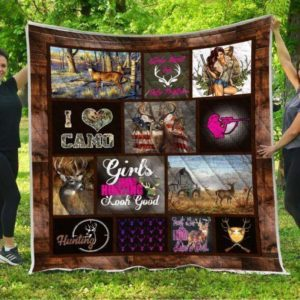Deer Hunting I Love Camo Quilt Blanket Great Customized Gifts For Birthday Christmas Thanksgiving Perfect Gifts For Hunting Lover