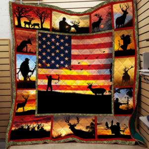 Deer Hunting Sunset American Flag Hunter Silhouette Quilt Blanket Great Customized Blanket Gifts For Birthday Christmas Thanksgiving