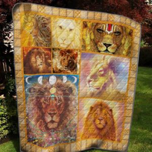 Hippie Lion Galaxy Golden Lion Art Quilt Blanket Great Customized Blanket Gifts For Birthday Christmas Thanksgiving
