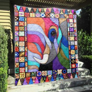 Elephant Small White Tusk Colorful Quilt Blanket Great Customized Blanket Gifts For Birthday Christmas Thanksgiving