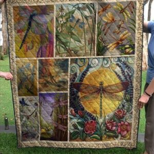 Animal Vintage Theme Dragonfly Plants Insects Flying Around The Pond Quilt Blanket Great Customized Blanket Gifts For Birthday Christmas Thanksgiving