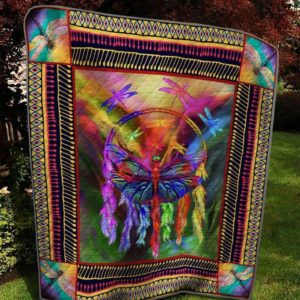 Animal Dragonfly Colorful Dreamcatcher Various Colors Quilt Blanket Great Customized Blanket Gifts For Birthday Christmas Thanksgiving