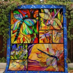 Colorful Dragonfly Drawing Wonderful Land Quilt Blanket Great Customized Blanket Gifts For Birthday Christmas Thanksgiving