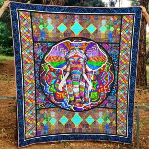 Elephant Colorful Elephant Pattern Beautiful Neon Green Diamond Quilt Blanket Great Customized Blanket Gifts For Birthday Christmas Thanksgiving