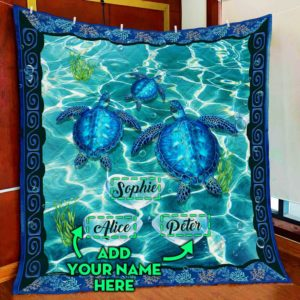 Personalized Turtle Custom Three Names Quilt Blanket Great Customized Blanket Gifts For Birthday Christmas Thanksgiving