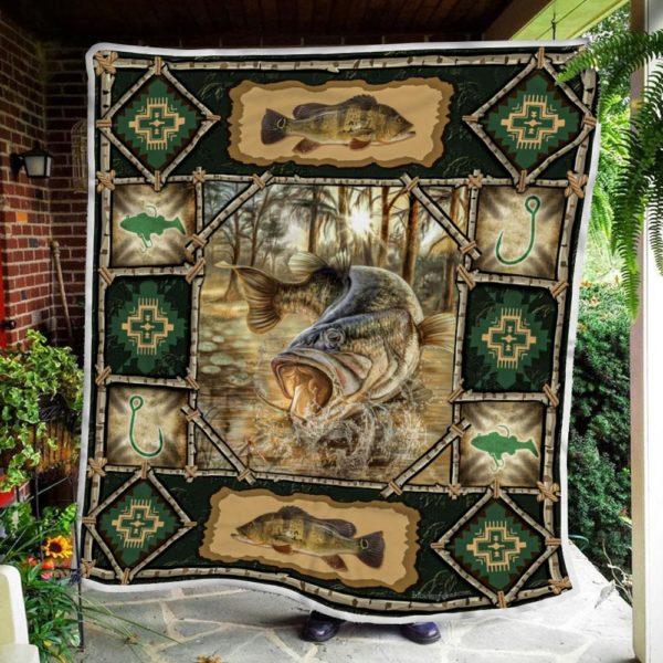 Largemouth Fish Quilt Blanket Great Customized Blanket Gifts For Birthday Christmas Thanksgiving