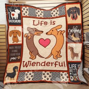 Dachshund Dog Life Is Wienderful Heart Quilt Blanket
