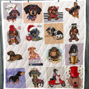 Dachshund Dog Christmas Emotion Dogicorn Party Quilt Blanket Great Customized Blanket Gifts For Birthday Christmas Thanksgiving