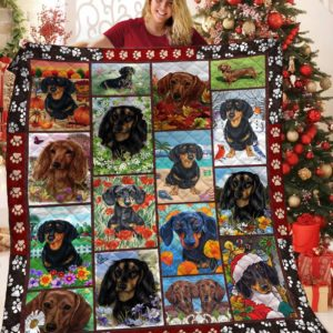 Dachshund Dog Drawing Flower garden Emotion Among The Nature Quilt Blanket Great Customized Blanket Gifts For Birthday Christmas Thanksgiving