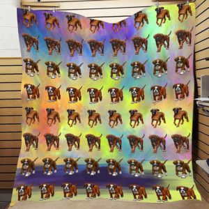Boxer Cute Dogs Colorful Background Quilt Blanket Great Customized Blanket Gifts For Birthday Christmas Thanksgiving