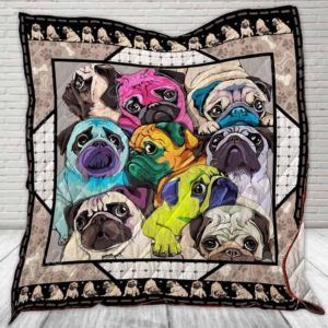 Pug Awesome Dogs Color Drawing Quilt Blanket Great Customized Blanket Gifts For Birthday Christmas Thanksgiving