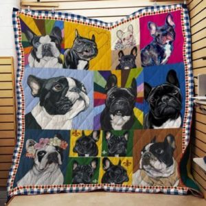 Cute French Bull Dogs Colorful Quilt Blanket Great Customized Blanket Gifts For Birthday Christmas Thanksgiving