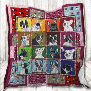French Bulldog France Faces Awesome Dogs With Cow Skin Quilt Blanket Great Customized Blanket Gifts For Birthday Christmas Thanksgiving