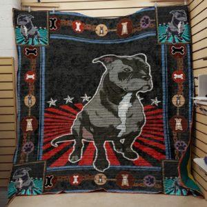 Black Pitbull White Neck Sitting On The Floor Quilt Blanket Great Customized Blanket Gifts For Birthday Christmas Thanksgiving