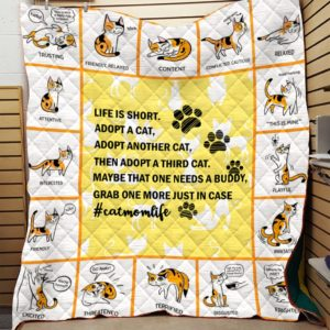 Cat Adopt Cat Cats Are Friends Quilt Blanket Great Customized Blanket Gifts For Birthday Christmas Thanksgiving