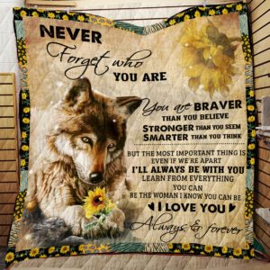 Wolf And Sunflower Never Forget That I Love You  Quilt Blanket Great Customized Blanket Gifts For Birthday Christmas Thanksgiving Anniversary