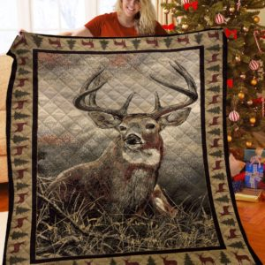 Deer Animal Deer With Pine Trees Quilt Blanket Great Customized Blanket Gifts For Birthday Christmas Thanksgiving