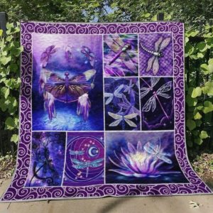 Insect Purple Dragonfly The Lotus Shines Purple Quilt Blanket Great Customized Blanket Gifts For Birthday Christmas Thanksgiving