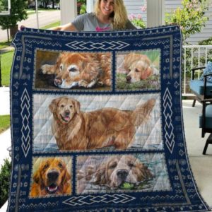 Golden Retriever Swimming And Lying On Grass Quilt Blanket Great Customized Blanket Gifts For Birthday Christmas Thanksgiving