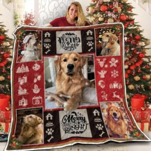 Golden Retriever Christmas Snow Merry And Bright Snowman Quilt Blanket Great Customized Blanket Gifts For Birthday Christmas Thanksgiving