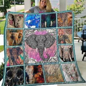 Elephant With Big Tusk Cool Elephants Quilt Blanket Great Customized Blanket Gifts For Birthday Christmas Thanksgiving