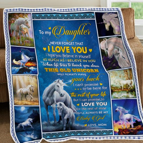 Personalized To My Daughter I'll Always Have Your Back From Mom White Unicorns Quilt Blanket Great Customized Blanket Gifts For Birthday Christmas Thanksgiving