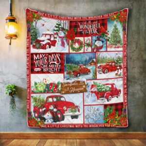 Red Truck Snowman. Let It Snow  It's The Most Wonderful Time Quilt Blanket Great Customized Blanket Gifts For Birthday Christmas Thanksgiving