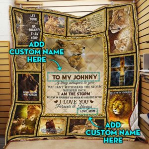 Personalized To My Son If They Whisper From Mom, Lion Son Customize Name Quilt Blanket Great Customized Blanket Gifts For Birthday Christmas Thanksgiving
