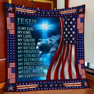 Jesus Is My God - Blue Cloud Lion Christian American Flag Quilt Blanket Great Customized Blanket Gifts For Birthday Christmas Thanksgiving
