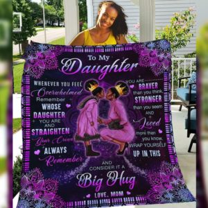 Personalized Black Family To My Daughter Loved More Than You Know From Mom Quilt Blanket Great Customized Blanket Gift For Birthday Christmas Thanksgiving Anniversary