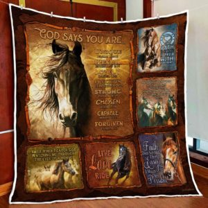 Horse. God Says You Are Unique Path To My Heart Quilt Blanket Great Customized Blanket Gifts For Birthday Christmas Thanksgiving