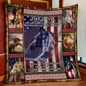 American Horse. I Am The Storm Stared Manes Quilt Blanket Great Customized Blanket Gifts For Birthday Christmas Thanksgiving