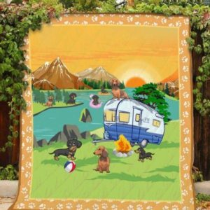 Dachshund Dog Drawing Camping With Dogs Quilt Blanket Great Customized Blanket Gifts For Birthday Christmas Thanksgiving