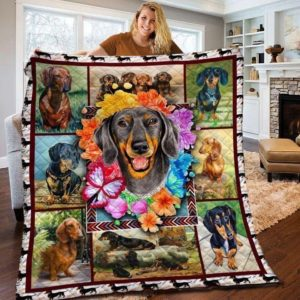 Dachshund Dog Drawing Dog And Flower Quilt Blanket Great Customized Blanket Gift For Birthday Christmas Thanksgiving Anniversary
