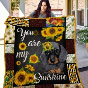 Dachshund Sunflowers You Are My Sunshine Quilt Blanket Great Customized Blanket Gift For Birthday Christmas Thanksgiving Anniversary