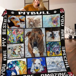 Pitbull Dogs You Are Amazing A Dog Looking At You Drawing Quilt Blanket Great Customized Blanket Gifts For Birthday Christmas Thanksgiving