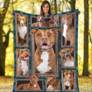 Pitbull Time For You Beautiful Dogs Chocolate Colors Quilt Blanket Great Customized Blanket Gifts For Birthday Christmas Thanksgiving