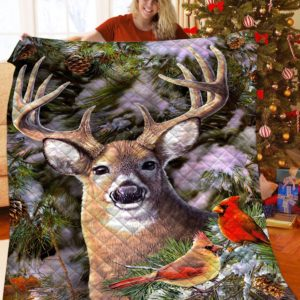 Deer Animal Deer With Birds With Trees Quilt Blanket Great Customized Blanket Gifts For Birthday Christmas Thanksgiving