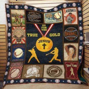 Baseball Jesus Go For The True Gold Quilt Blanket Great Customized Blanket Gifts For Birthday Christmas Thanksgiving