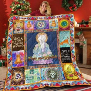 Meditation Cat The World Paws And Meditate Quilt Blanket Great Customized Blanket Gifts For Birthday Christmas Thanksgiving