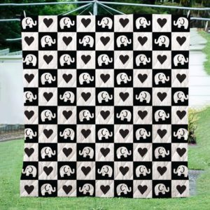 Mini Elephant With Black And White Theme Quilt Blanket Great Customized Blanket Gifts For Birthday Christmas Thanksgiving