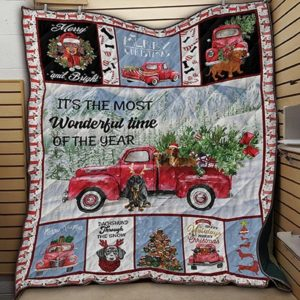 Dachshund Through The Snow Merry And Bright The Most Wonderful Time Of The Year Quilt Blanket Great Customized Blanket Gifts For Birthday Christmas Thanksgiving
