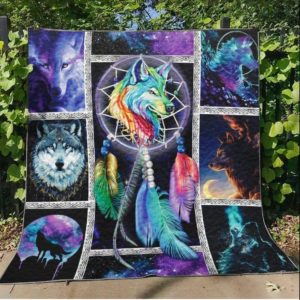 Wolf Dream About Wolves Lover Dreamcatcher Quilt Blanket Great Customized Blanket Gifts For Birthday Christmas Thanksgiving