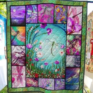 Animal Dragonfly Purple Flowers Purple Sky Beautiful Painting Of Nature Quilt Blanket Great Customized Blanket Gifts For Birthday Christmas Thanksgiving