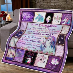 Personalized To My Daughter I Love You From Mom Unicorn With Purple Manes Quilt Blanket Great Customized Blanket Gifts For Birthday Christmas Thanksgiving