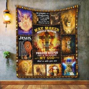 Jesus Way Maker Miracle Worker Lion Cross Quilt Blanket Great Customized Blanket Gifts For Birthday Christmas Thanksgiving