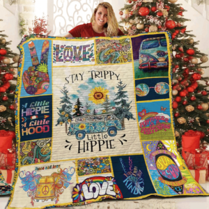 Car Stay Trippy Little Hippie Drawing A Little Hippie A Little Hoop Quilt Blanket Great Customized Blanket Gifts For Birthday Christmas Thanksgiving